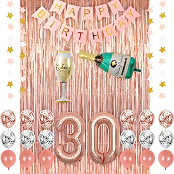 Rose Gold 30 Birthday Party Decorations Supplies Champagne Balloon Pink Happy Banner