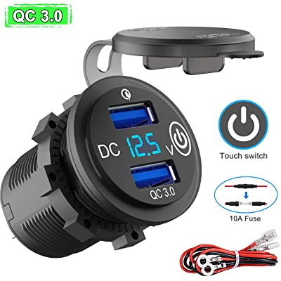 Quick Charge 3.0 USB Outlet 12V/24V with Switch, Dual USB Car Charger Power Socket Waterproof Marine Cigarette Lighter Adapter 36W QC 3.0 Fast Charge with LED Voltmeter for Boat Motorcycle RV ATV etc: Electronics