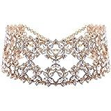 XY Fancy Damen luxus Choker Halsreife Strass Blumen Halskette