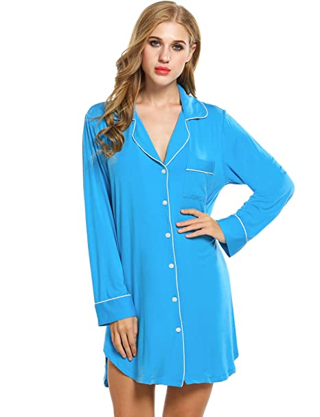 Avidlove Womens Sleep Shirt Luxury Sleepwear Long Sleeve Button-Front  Nightshirts 0b0a92998