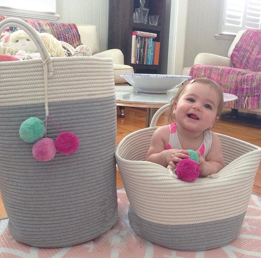 MSFGJZM 20×16 inches Extra Large Storage Baskets Cotton Rope Woven Nursery Bins Decorative (Gray White, M) - Three types available: Blue and white, Gray and white, Pink and white Made of cotton rope, safe and healthy, without any chemicals, safe and durable material, It's a reliable basket for nursery room Storing and moving conveniently, An aesthetic classy home decoration, no more clutters and messes in any corner of your room - living-room-decor, living-room, baskets-storage - 71Ms77kU2IL -