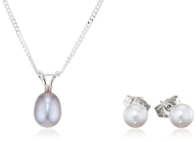 Kimura Pearls Silver Grey Cultured Freshwater Pearl Earring and Pendant Set on 40cm Chain