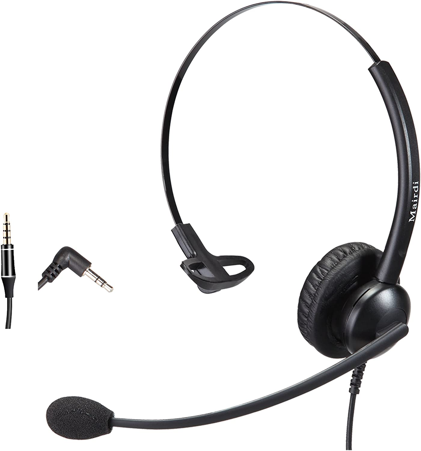 Telephone Headset with 2.5mm Jack with Noise Canceling Mic for Cisco Linksys SPA Polycom Grandstream Panasonic Zultys Gigaset and Other Cordless Dect Phones Including 3.5mm Connector for Cell Phone