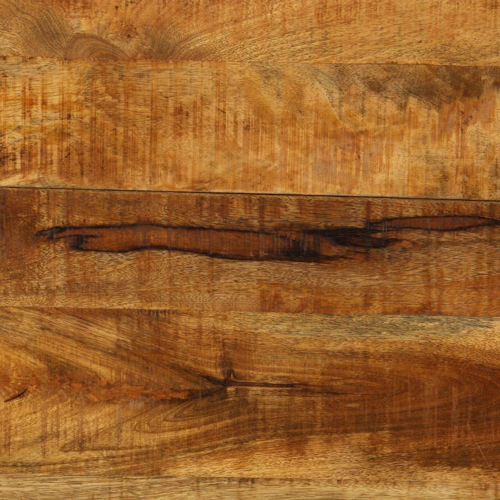 Tidyard Mesa de Comedor de Madera de Mango Maciza y Estructura de Hierro Mesa de Comedor Madera Natural 140 x 140 x 76 cm