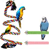 Aumuca Bird Perch Stand Bird Rope Perch Bird Toys 3 Pcs for Parakeets Cockatiels, Conures, Macaws, Lovebirds, Finches