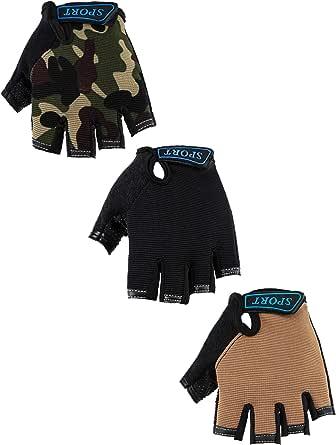 3 Pairs Kids Half Finger Gloves Sport Gloves Non-Slip Gel Gloves for Children Cycling Riding Biking