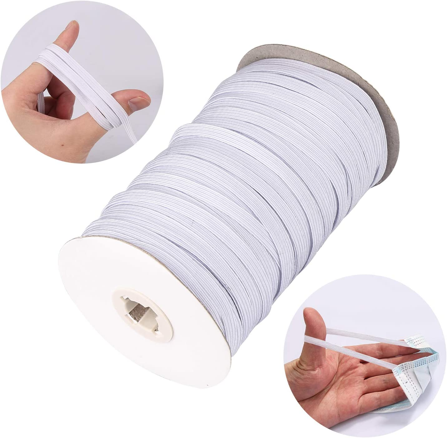 with Scissor and Tape Measure Elastic Cord//Elastic Band//Elastic Rope//Bungee,140 Yard 1//4 Inch Braided Heavy Stretch High Elasticity Knit Elastic Band for Sewing Crafts DIY,Mask Making,Cuff