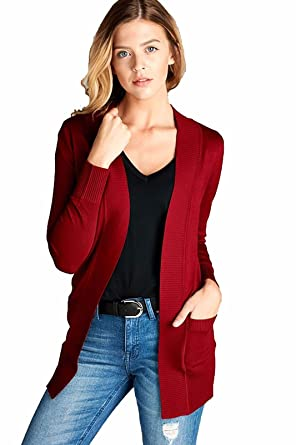 c5847246f7 Active USA Women s Long Sleeve Cardigan Open Front Draped Sweater Rib  Banded Pockets Plus Size SW7948XL