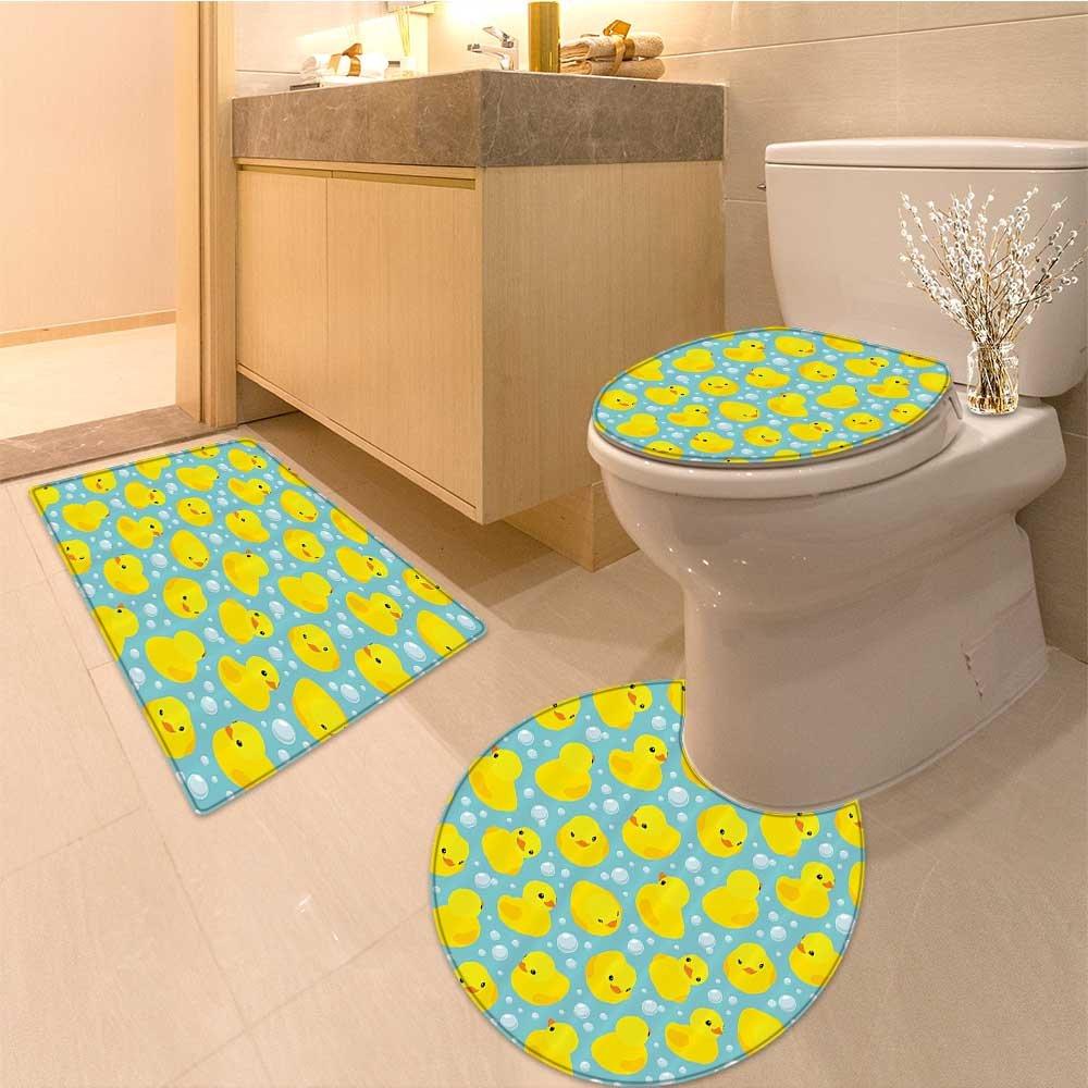 3 Piece Anti-slip mat setnursery Collection Elephant Takes Bubble Bath in Basin with Duck Wet Water Games Anim Non Slip Bathroom Rugs