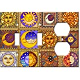 Celestials Theme Metal Wall Plate - Triple Gang Combo - 2 Toggles/Outlet - Image by Dan Morris
