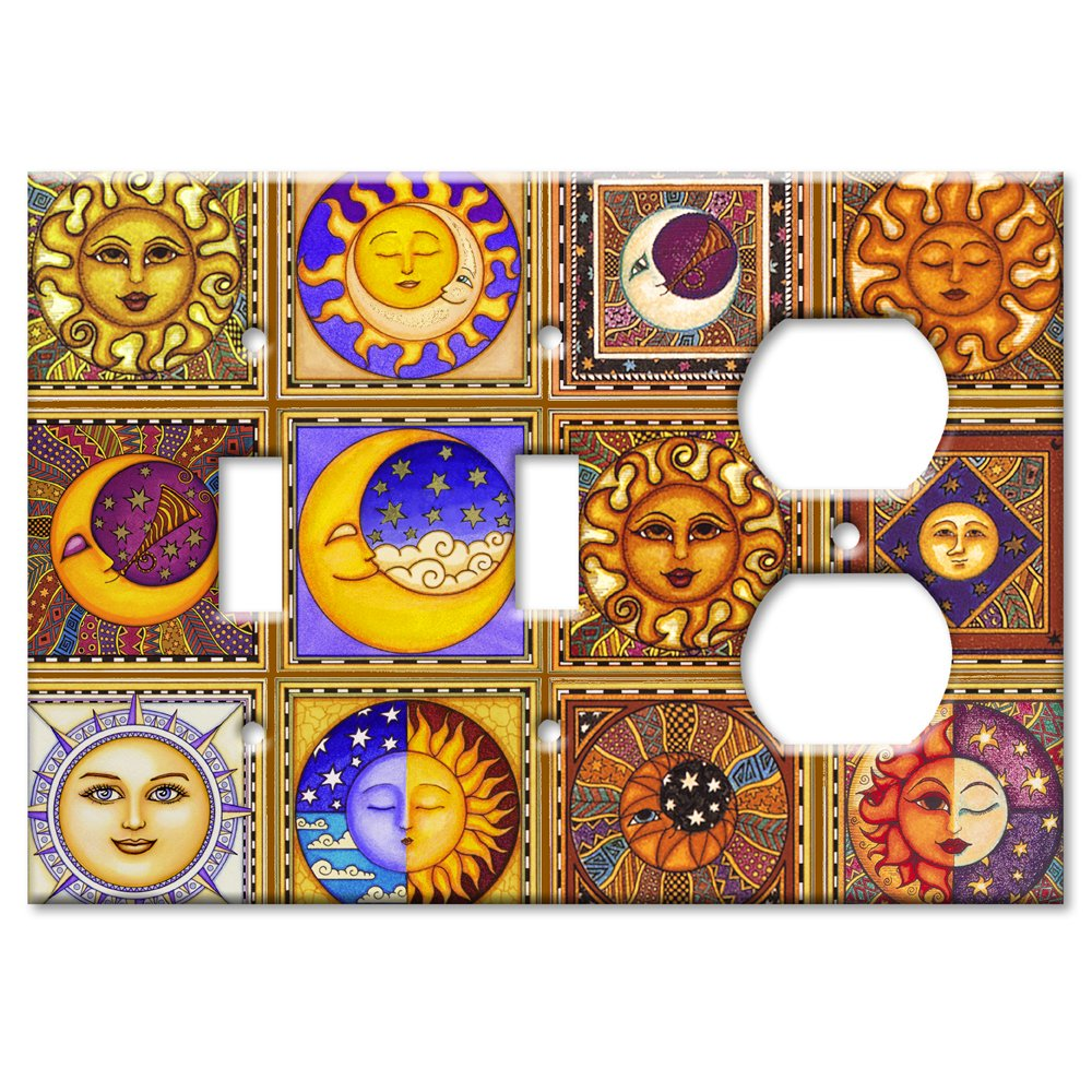 Celestials Theme Metal Wall Plate - Triple Gang Combo - 2 Toggles / Outlet