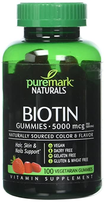 Puremark Biotin Gummies Vegetarian Gummies, 5000 mcg, Strawberry, 100 Count