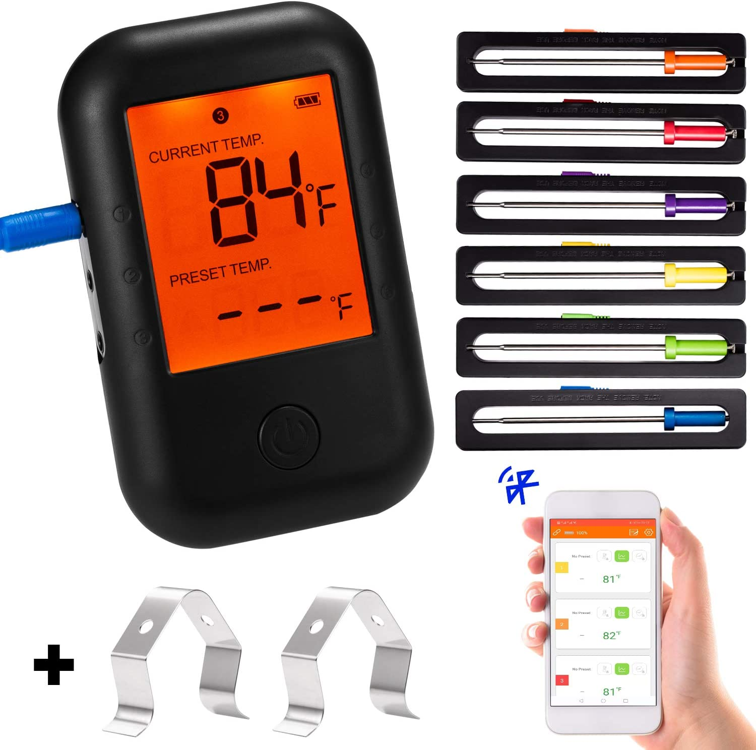 Deeteck Digital Meat Thermometer for food with 6 Stainless Steel Probes & Accurate Instant Reading,Oven Grilling Thermometers,Bluetooth Smoker Thermometer for Cooking,BBQ,Kitchen
