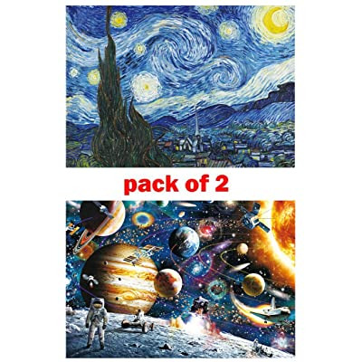 Jigsaw Puzzles 1000 Pieces for Adults 2 Pack Family Puzzles Game- Stray Sky and Space Traveler: Toys & Games