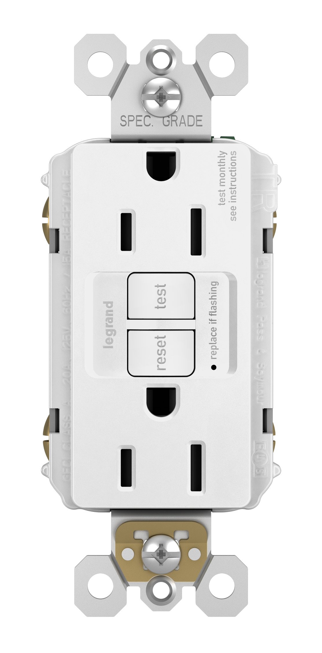 Legrand - Pass & Seymour Radiant 1597WCCD12 15 Amp Self-Test Gfci Outlet, White