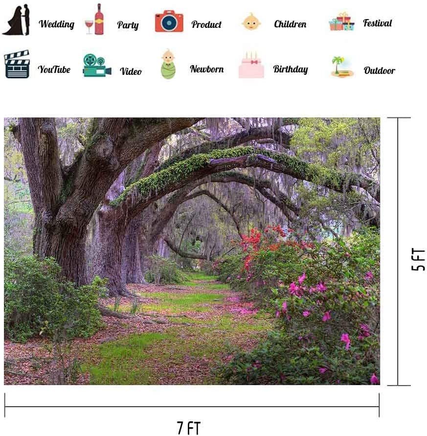 H W x5 FT Garden Tree Backdrop Park Flower Blossom Photography Background Family Photoshoot Portrait Birthday Party Church Events Banner YouTube Booth Studio Prop EOA 7