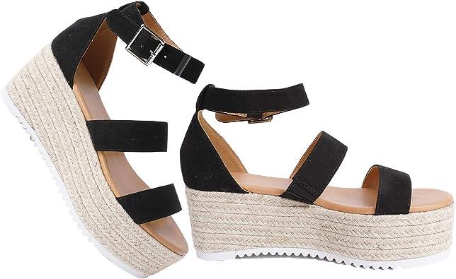 VEPOSE Womens Platform Sandals Wedge Espadrilles Adjustable Ankle Strap Open Toe Wedge Sandal