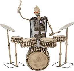 Halloween Haunters Animated Life-Size Skeleton Zombie Drummer, Drumming a 7 Piece Rock Band Drum Set Prop Decoration - Scary Drumstick Music Playing Thick Rubber Latex Musician Man
