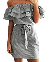 Shele Women's Casual Off Shoulder Striped Ruffles Strapless Short Dresses Mini Dresses