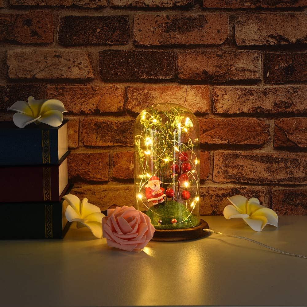 Mifelio Christmas Table Lamp Nightstand Decorative Room Desk Lamp,Copper Wire Lamp Microscopic Scene Home Decoration Ornaments LED Santa Claus Moon Fairy Lights