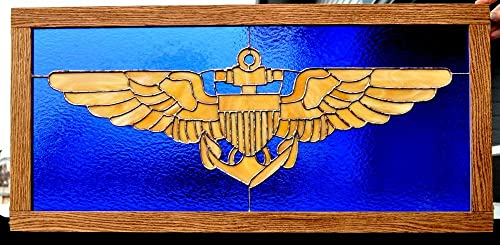 PG SEEDS GIFT SHOP Stained Glass Navy USMC Pilot Wings Framed in Oak Ready to Hang