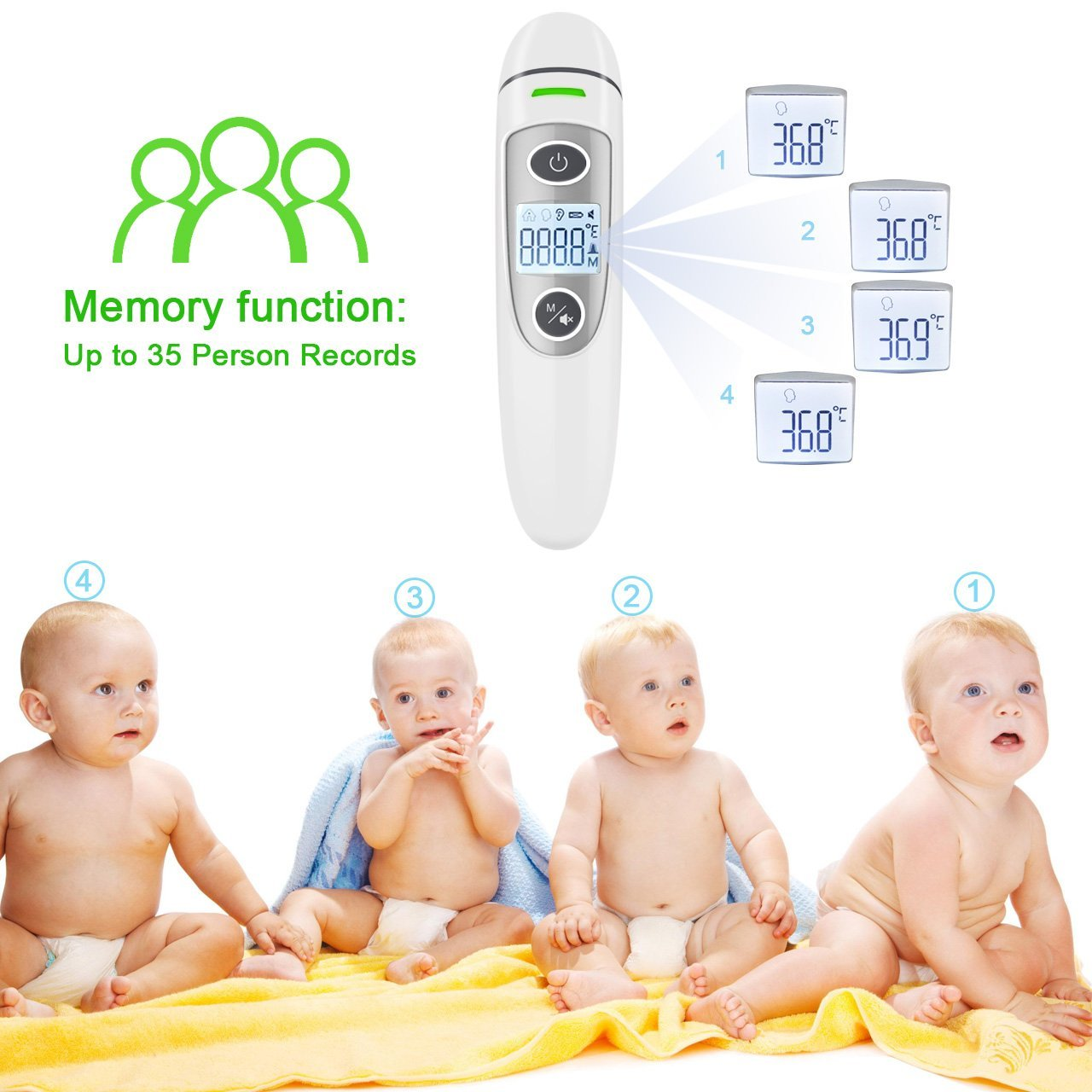 Forehead and Ear Thermometer, THZY Upgraded Digital Infrared Thermometer with Fever Indicator, Dual Mode Body Thermometer Suitable for Baby, Infants, Toddlers and Adult CE&FDA Approved by THZY (Image #3)