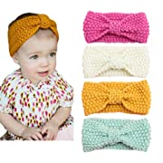 DANMY Baby Knitted Bow Headband Crochet Winter Elastic Hair Band Girls
