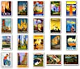 VINTAGE TRAVEL POSTERS postcard set of 20. Post cards depicting the original 1920s-1940s posters. Variety pack poster reprint postcards. Made in USA.