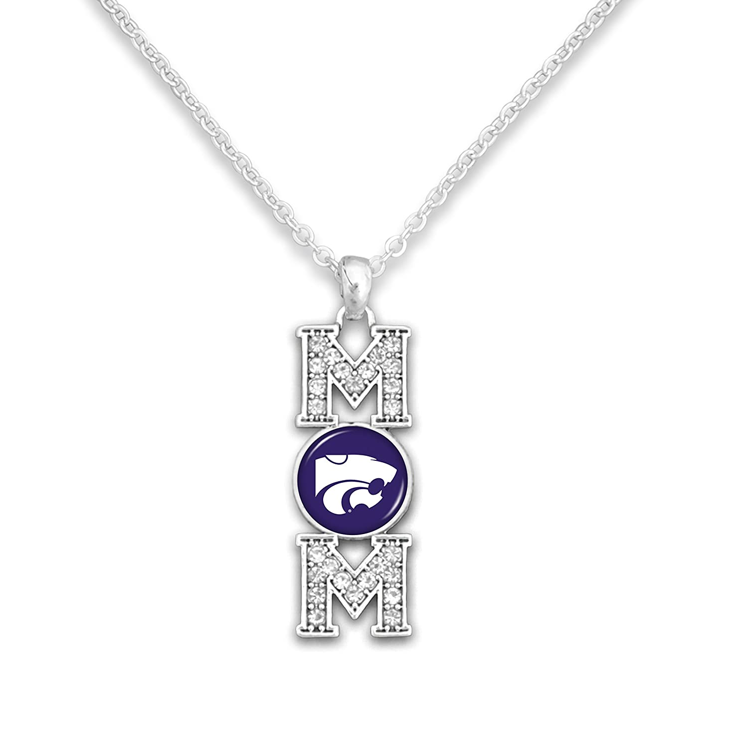 Kansas State Wildcats 18 Silver Tone MOM Necklace Featuring Team Logo