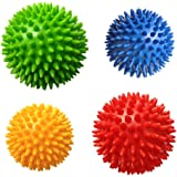 Spiky Massage Balls -4PCS Massage Roller Ball, Deep Tissue Trigger Point, Foot & Neck, Back Massager, Plantar Fasciitis Therapy, Relieve All Over Body Muscle Pains, Hard & Soft Combo Massage Balls Set