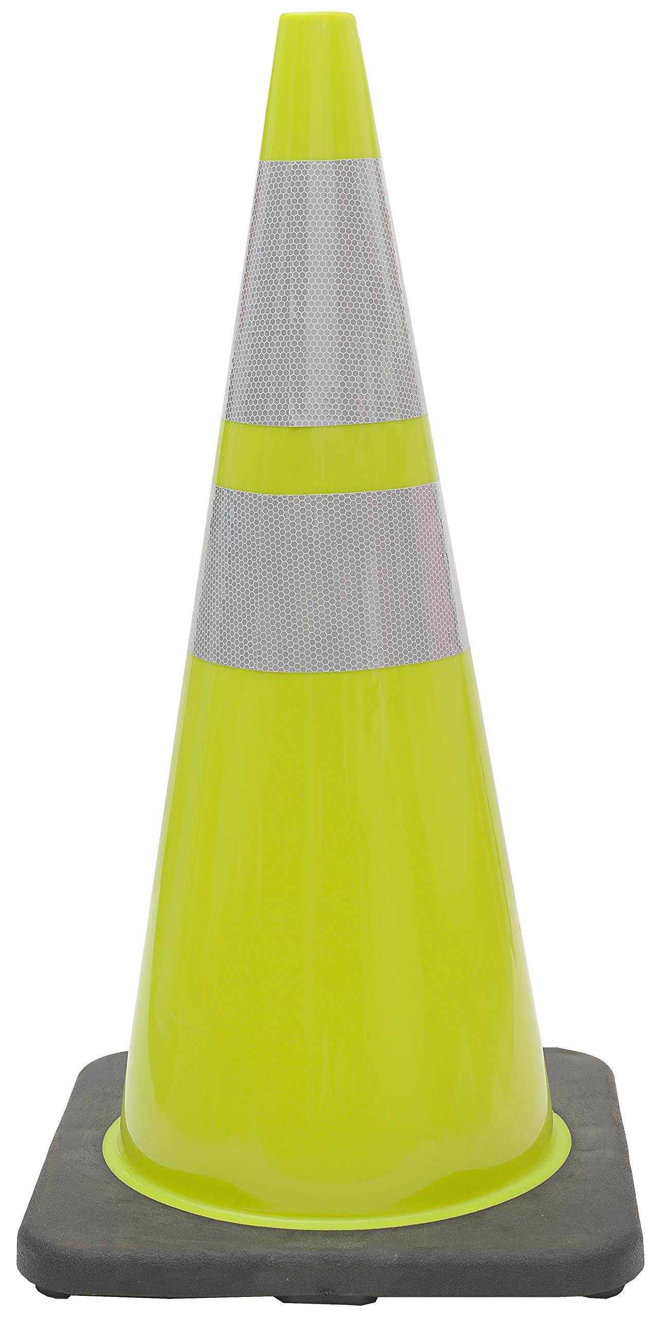 (Set of 24) CJ Safety 28'' Lime Green PVC Traffic Safety Cones with Black Base & 6'' & 4'' Reflective Collars (24 Cones)