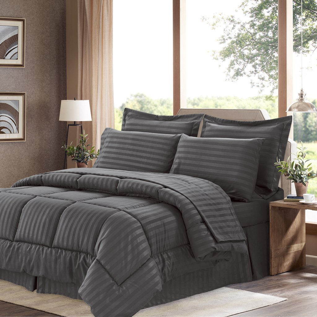 Sweet Home Collection 8 Piece Bed In A Bag with Dobby Stripe Comforter, Sheet Set, Bed Skirt, and Sham Set - Queen - Gray by Sweet Home Collection