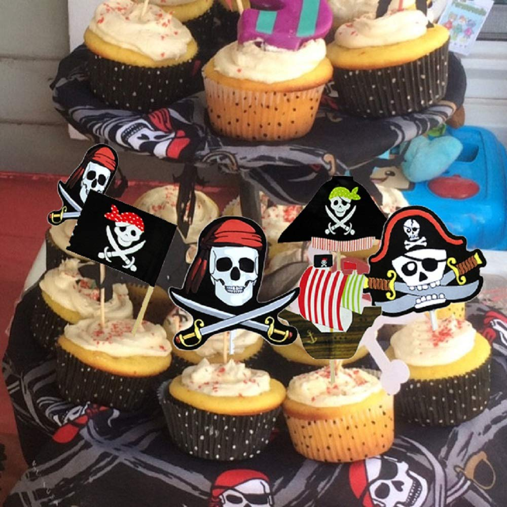 30PCS JeVenis Pirate Cake Topper Pirate Party Themed Cake Decorations Pirate Party Cupcake Toppers for Pirate Ship Theme Party Ocean Birthday Baby Shower