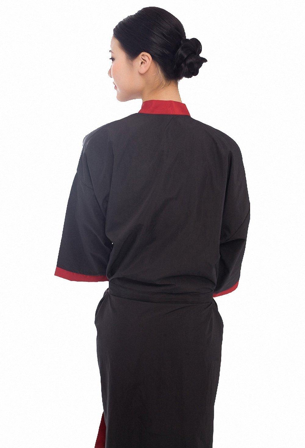 Bata negra para salón, peluquería, bata estilo kimono de 43