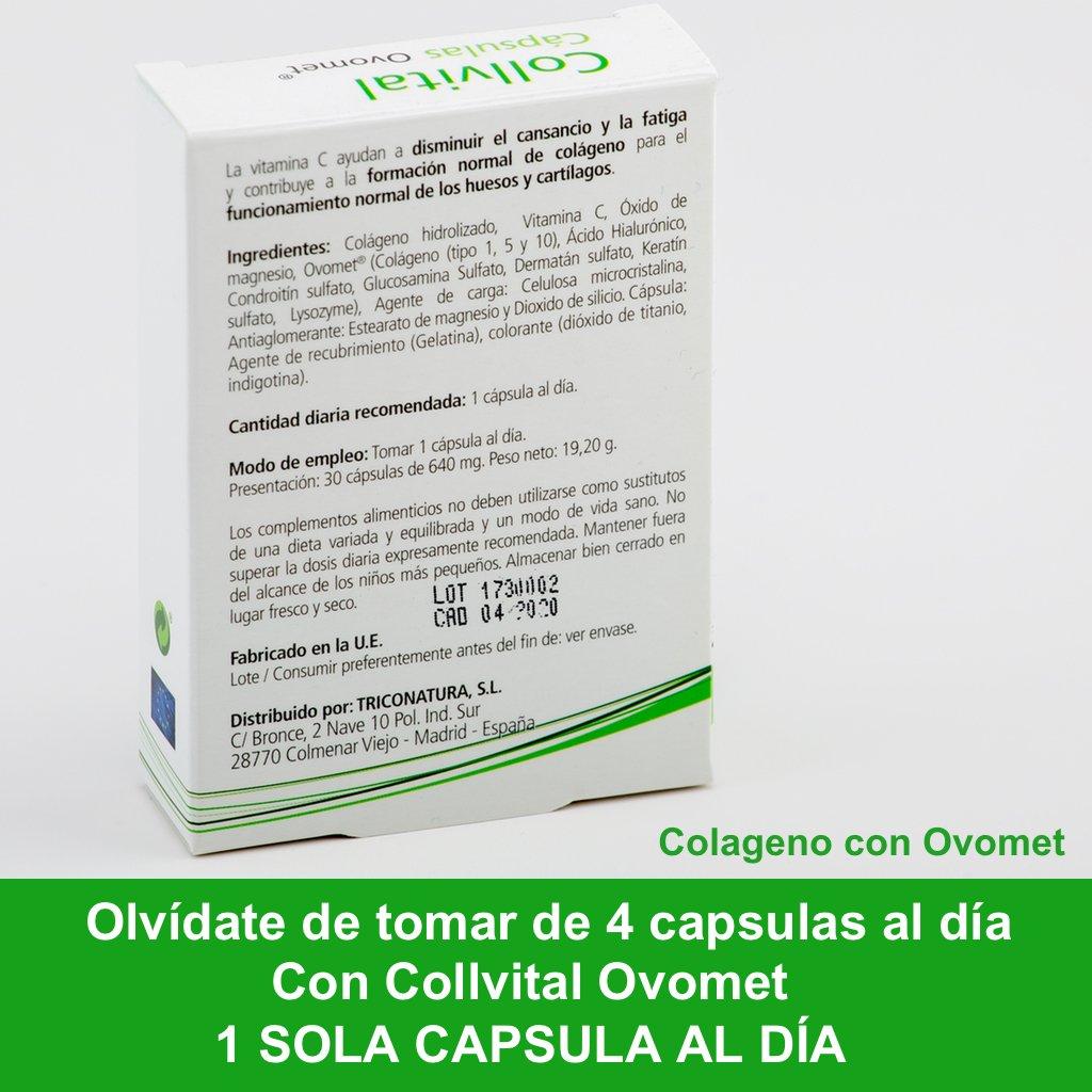 Colágeno hidrolizado + Acido hialurónico + Vitamina C + Zinc y Magnesio + OVOMET en cápsulas. Alta concentración 1 sola cápsula al día, anti-inflamatorio ...