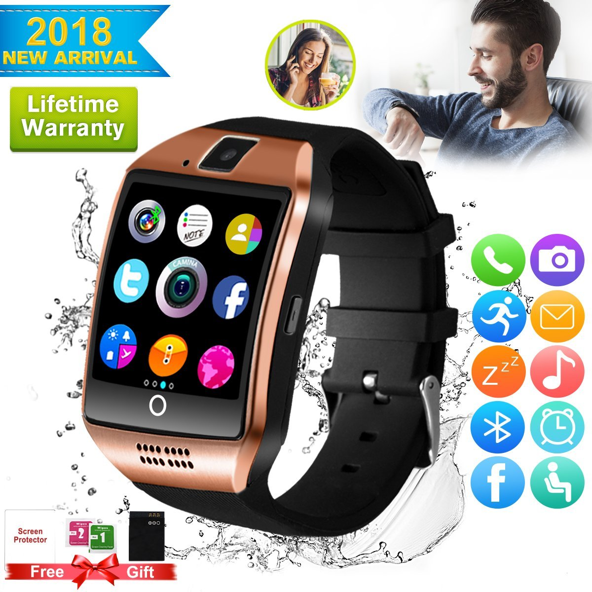 Smart watch for android phones,2018 Bluetooth smartwatch Android ,Smart Watches Touchscreen with Camera, Smart Wrist Watch Cell Phone with Sim Card Slot Compatible IOS Android for Women Man