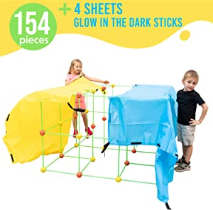 Fort Building Kit for Kids | Kids Fort Building Indoor Playhouse Fort Building Set of 154 pcs - Supersized Glow in The Dark Fort with Balls and Sticks Building Set + 4 Sheets by Funphix