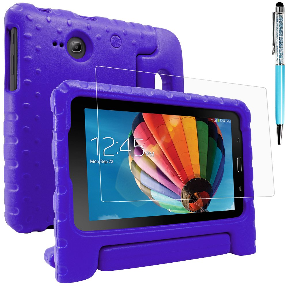 Protective Case for Samsung Galaxy Tab E Lite 7.0 with Screen Protector and Stylus, AFUNTA Convertible Handle Stand EVA Case, PET Plastic Cover and Touch Pen for Tablet 7 Inch - Purple AF-tabE7_case+cover+stylus-purple