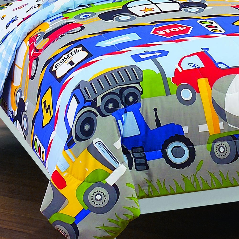 dream FACTORY Trucks Tractors Cars Boys 5-Piece Comforter Sheet Set, Blue Red, Twin by dream FACTORY (Image #2)