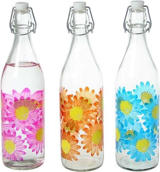 DONREGALOWEB Set de 6 Botellas de Cristal y 1 l Decoradas con Flores: Amazon.es: Hogar