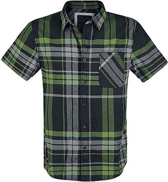 Brandit Mike Checkshirt Hombre Camisa Manga Corta Negro-Verde ...
