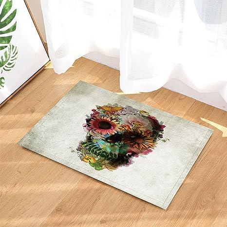 Color Skull With Butterfly Bath Rug Non-Slip Floor Outdoor Indoor Front Door Mat