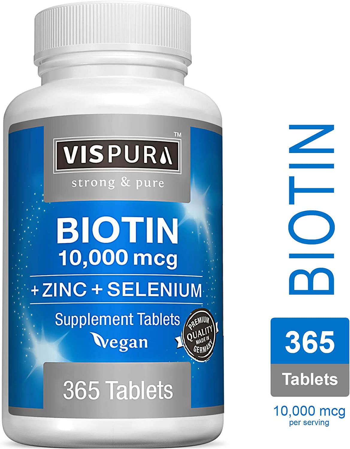Biotin 10000 mcg Vitamin + Zinc + Selenium, Best Supplement for Hair Growth, Glowing Skin, Strong Nails*, 365 Tablets