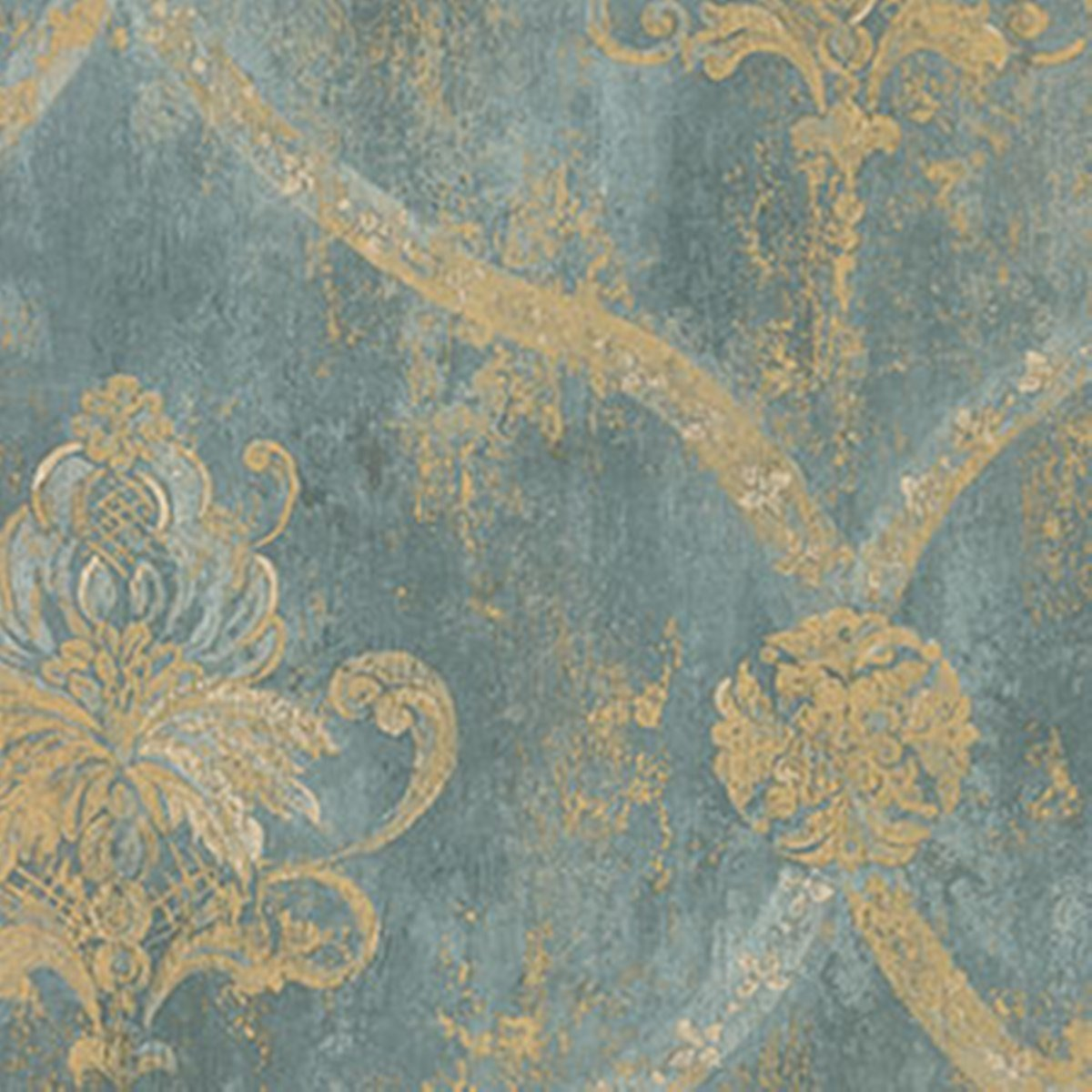 Famous Wallpaper French Faux Aqua Blue Large Damask with Gold by Norwall  CL92