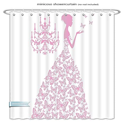 Minicoso Shower Curtains Love Decor Country Wedding Artwork Prints Butterflies Princess Retro Chic Girls Teens Bachelorette