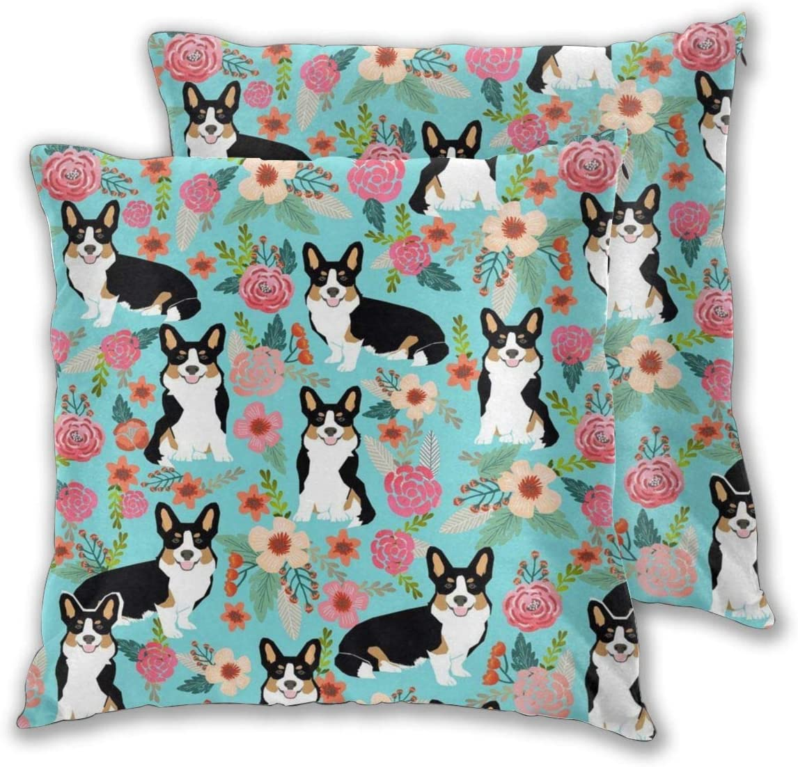 "YUERF 2 PCS 16""x16"" Corgi Cute Black and Tan Welsh Cardigan Corgi with Florals Flowers Throw Pillow Covers Decorative Cushion Case, Inserts are Not Included"
