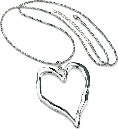 Large Silver Multi Heart Pendant Long Necklace Lagenlook Jewellery Fashion