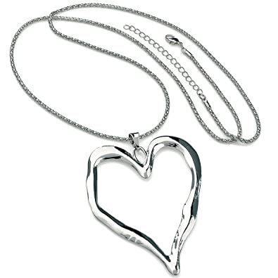 Lagenlook silver colour big heart pendant long mirror chain necklace hVGnItTwVV