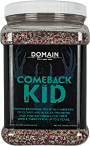 Domain Outdoor Comeback Kid Deer Food Plot Seed, Great to Plant in Spring, 1/2 Acre, High Protein Forage, Year-Round Food and Attraction, Special Varieties of Clover & Alfalfa, Lasts up to 5 Years