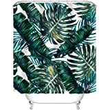 """Uphome Palm Tree Leaves Pattern Bathroom Shower Curtain - Customized Heavy-duty Polyester Fabric Bathroom Curtains Ideas (60""""W x 72""""H, Palm)"""